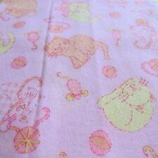 Vtg baby juvenile flannel fabric PINK yellow half yard cut 1/2 Kitty Yarn Cat