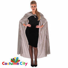 Unisex Adult Grey Velour Hooded Halloween Fancy Dress Vampire Cape