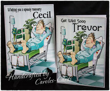 30 PERSONALISED CARD NAME GET WELL SOON MALE/SON/DAD/UNCLE ETC