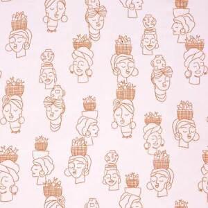 Sommersweat Katia Fabrics 145cmx50cm  Frauen Köpfe rosa lachs