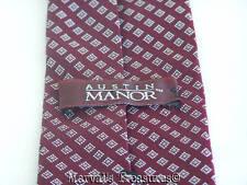 "Austin Manor Designer Necktie Maroon Grey Squares Diagonal Stripe 55"" Tie"