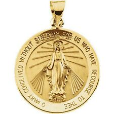 Miraculous Medal 14K Yellow Gold 20.50mm Round Virgin Mary Large 2 Sided R5019