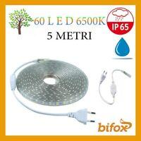 STRIP STRISCIA LED SMD 5050 TUBO PER ESTERNO IP65 SPINA 220V 5 M LUCE 6500K 40W