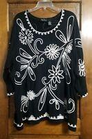 Maggie Barnes Black White Applique Top Embellished Shirt Womens Sz 3X 26W