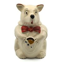 Vintage 1940's McCoy White Bear In A Red Bow Tie Cookie Jar 10.75 Inches