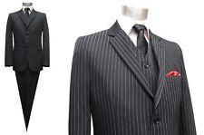 Nadelstreifen Herren Anzug 3-teilig Gr.52 Schwarz
