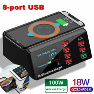 Wireless Charger Charging Station 8 Port Quick Charge QC3.0 LCD Display UK Plug
