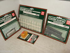 4 Model Scene Packs, Passengers & Staff, Stone Walls, Skips, Nameboards OO Gauge
