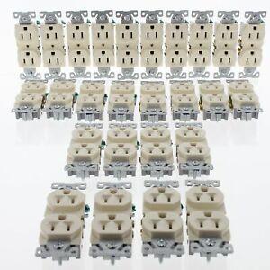 26 Eaton Almond COMMERCIAL Duplex Outlet Receptacles NEMA 5-15R 15A 125V BR15A