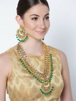 Latest South Indian 22K Gold Platted Green Necklace Earrings Set Fashion Jewelry