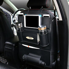 Black PU Leather Car Truck Seat Back Protector Cover Storage Holder Organizer