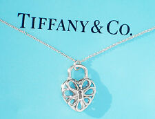 Tiffany & Co Filigree Heart Sterling Silver Pendant Necklace 16 Inch