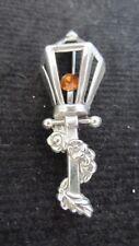 STERLING SILVER LAMP CHRISTMAS PIN LANTERN LAMP POLE W/ FLOWERS ORANGE STONE