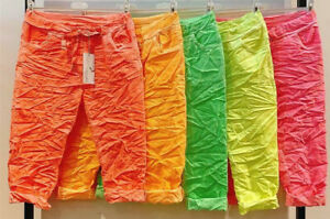 Italy Style Damen Jogpant Capri Bermudas 5 Neonfarben stretch-Jogger Gr.38,40,42