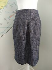 Hobbs Blue And Beige Speckled Knee Length Straight Skirt Formal Work UK Size 8