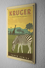 Tin Sign World Tour  Kruger National Park South Africa Zebra Giraffe  Metal Plat
