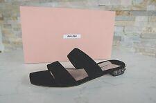 MIU MIU Gr 36 Pantoletten Sandalen Sandaletten Schuhe schwarz black NEU UVP 450€