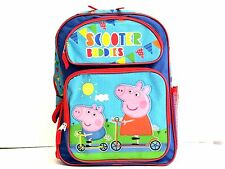"""Peppa Pig Scooter Buddies Girl's 16"""" Canvas Blue School Backpack Book Bag"""