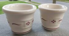 2 Longaberger Pottery Woven Traditions Red Votive Candle Holders Set