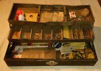 Vintage metal tackle box w/ contents gm skinner dardevle marathon olson weber