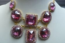 Butler and Wilson Pink Diamante Necklace and Earrings
