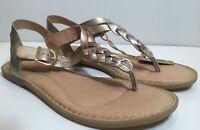 Born Lake Panna Cotta Metallic Braided Thong Flat Sandals Womens Size 9 NEW