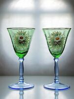 Antique Bohemian Bi-colored Blue Green  Wine Glasses Hand Painted Flowers