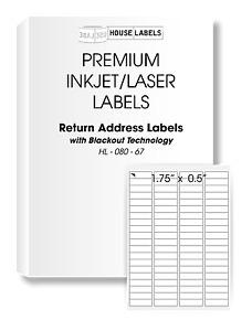1000 Sheets 80000 Labels BLACKOUT 1.75x0.5 FAST PEEL 80UP Return Address Labels