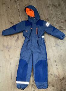 H&M Schneeanzug Skianzug 116 Jeansblau Neon Orange