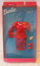 NEW SET 2000 BARBIE FASHION COLLECTIBLE ~ RED VELVET w/BLUE GLITTER OUTFIT