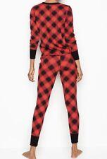 Victoria's Secret Thermal Pj Set Red/Black  Plaid,  Size M New