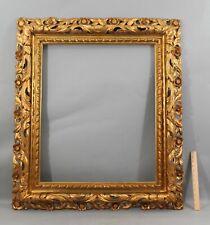 Large 19thC Antique Carved Gold Gilt Wood Flower Frame for 25x30 Oil Painting