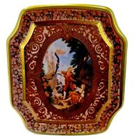 Small Victorian Style Decorative Tin Red & Gold Ornate Filigree & Framed People