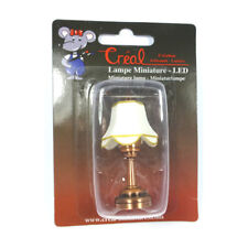 Creal 2254 Tischlampe mit weißem Schirm LED mit Batterie kupfer 1:12 NEU! #