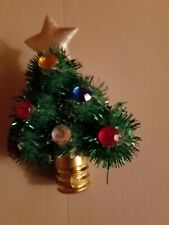 "Christmas Tree Pin.2 1/2"" long. Silver cloth star on top of tree with lights."