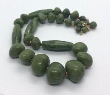 "Vintage Necklace Green Hong Kong Faux Jade Color Bead Plastic Estate 17"""