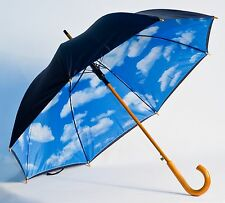 Perfect Blue Sky With Clouds Automatic Open Umbrella With Wooden Shaft