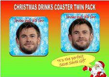 Chris Hemsworth Novelty Christmas Drinks Coaster Twin Pack Set Secret Santa Gift