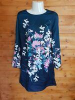RRP £59 Ex Branded Ladies Floral Satin Shift Dress Long Sleeve - 6 8 10 12 14 16