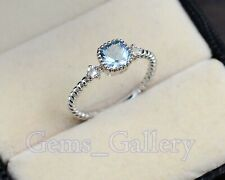 Solid 925 Sterling Silver Aquamarine Natural Gemstone Engagement Ring For Women
