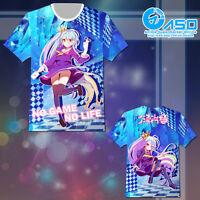 No Game No Life Zero Shiro Cosplay Anime Unisex Short T shirt Casual Tee Tops