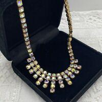 VINTAGE 50s AB Sparkly Necklace Gold Tone Chain Art Deco Look Collar 39cm Retro