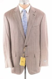 Canali KEI NWT Sport Coat Size 56 46R US Light Brown Wool/Silk/Linen $1,750