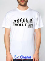 T SHIRT Evolution BIKER maglietta divertente cotone fruit of the loom