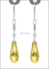 Sterling Silver Dangle Earring w/CZ Drop Yellow #53013