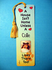 """Collie"" A House Isn't Home - Tassel Bookmark (flag gold 