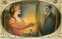 ~Pretty Lady Sees Man in Mirror~Candle~Antique~Romantic Halloween Postcard~s717