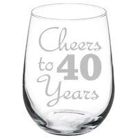 Cheers to 40 Years Anniversary 40th Birthday Gift Wine Glass