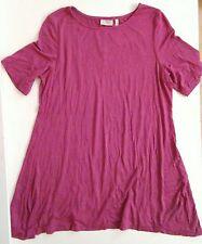 LOGO Lori Goldstein Tunic Top Size Small Short Sleeve Plum Lagenlook T Shirt Tee