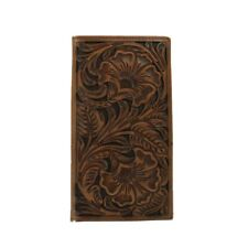 Ariat Mens Leather Tooled Wallet - Brown Rodeo